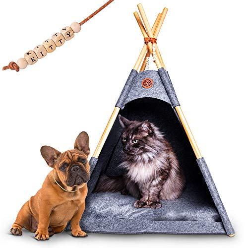 Lucky Lamb Tipi für Hunde und Katzen | Filz Zelt in 65x65x90cm bis 12kg | Hundebett & Katzenbett in Anthrazit grau inkl. Kissen | + GRATIS Namensperlen