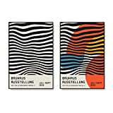 HJKLP Bauhaus Ausstellung Poster de exposición Arte Minimalista Impresiones en Lienzo Pinturas de líneas abstractas Cuadro de Pared para Decoracion Moderna 50x70cmx2 sin Marco