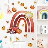 JZLMF Zsz1769 Creative Rainbow Stickers Citrouille Couleur Stickers Muraux Chambre D'enfants Chambre Fond Décoration Murale Stickers Muraux Auto-Adhésif
