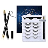 Eyeliner and Eyelashes Kit,False Eyelashes Extension Practice Set, 5 Pair 3D Reusable Non Magnetic lashes,Charming Natural Eyelashes,Ideal Make up Tools for Party,Dating,Travel,Daily Life