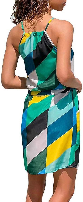 Dress for Women Mini Dress Women Bohemian Beach Dress Sundress Printed Halter Sleeveless Boho Dress Beachwear Dress Casual Mini Short Dress with Pockets Long Dresses for Women Casual