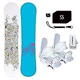 womens 140 snowboard package - M3 Star Snowboard & Symbolic White Bindings & Leash & Stomp & Burton Decal Package 130,136, or 140cm (Bindings White XS (Fits 1-6 Kid), 140cm M3 Star Snowboard)