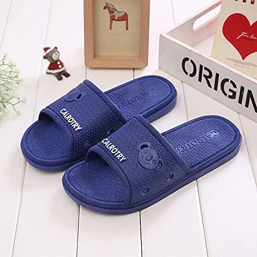 LLGG Sandalias de Piso Casuales Antideslizantes,Zapatillas de Grifo de Deslizamiento, Zapatillas de baño para Hombres.-Azul Profundo_44-45,Zapatillas de Estilo para el hogar