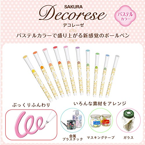 Sakura Fun Writing Gel Ink Roller Ballpoint Pen for Decoration, Decorese Pastel 5 Color Set A, Fruity Color (DB206P5A) Photo #3