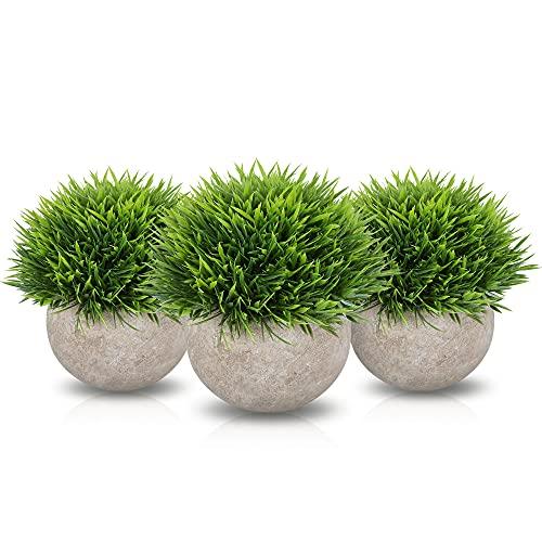 Zalava 3 Stück Kunstpflanze mit Topf Bonsai Künstliche Pflanzen Kunststoff Fälschung Grünes Gras Indoor und Outdoor für Hochzeit Tisch Haus Balkon Büro Deko