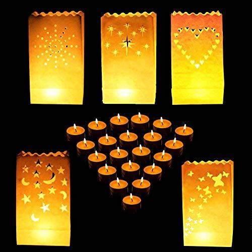 Bolsas para Velas (50 Paquete ) - Resistente al Fuego Linternas de Papel Blanco para Partido y Decor de la Boda con Velas Té - Estrella, Corazón, Puntos, Estrella y Luna y Mariposa Diseño Lumi