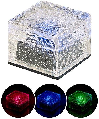 Lunartec Leuchtende Steine: Solar-RGB-LED-Glasbaustein mit Dämmerungsssensor, 7 x 5,4 x 7 cm, IP44 (LED Stein)