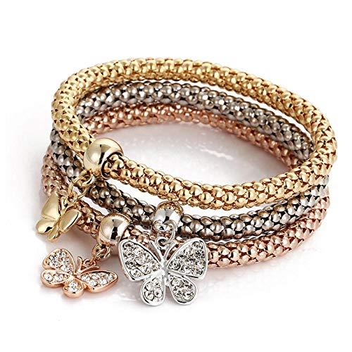 Armband Armreif Armkette Damen Neue 3 Pcs/Set Kristall Schmetterling Armband & Armreif Mehrfachform Elastische Herz Armbänder Für Frauen 81001