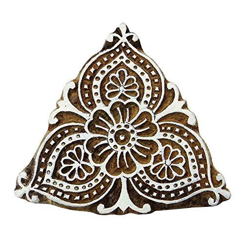 Unbekannt Brown Floral Indian Rahmen Briefmarke aus Holz Drucktype Keramik Briefmarken