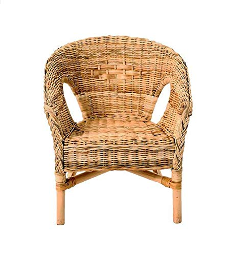DEENZ Wicker Loom Chair Natural Brown Fully Assembled Natural Cane H78cm x W58cm x L60cm Floor Seat Height: 54cm rattan chair