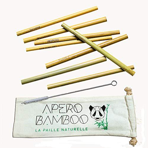 Apéro Bamboo Set di 8 cannucce in bambù incise nella Loro Custodia in Tessuto con Uno scovolino di Pulizia, 100% Naturali, ecologiche, biodegradabili e riutilizzabili