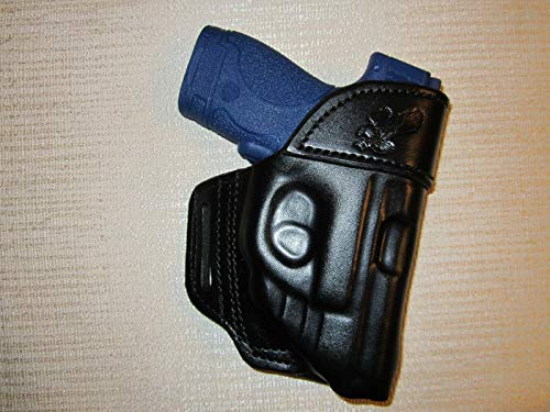 S&W M&P Shield 9MM& 40 Cal. with Crimson Trace Laser owb Leather Belt Holster