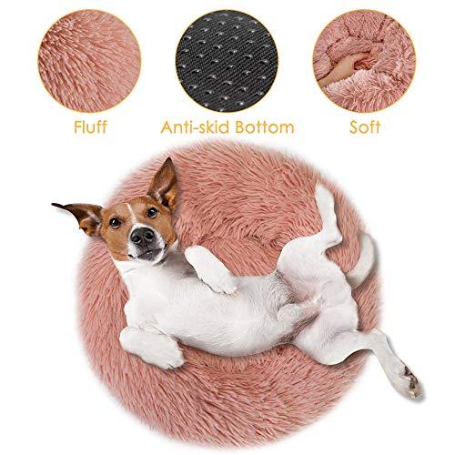 Nasjac Beruhigendes Haustierbett, Donut-Kuschelnest, warmes weiches Plüsch-Hundekatzenkissen mit angenehm kuscheligem Schwamm, rutschfeste Unterseite für kleine, mittelgroße Haustiere, Schlafen