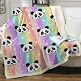 Sleepwish Panda Throw Blankets for Kids Girls Cute Rainbow Panda Plush Blanket Animal Reversible Sherpa Fleece Blanket Thick Fuzzy Lightweight Blanket for Bed Couch Sofa Machine Washable (50' X 60')