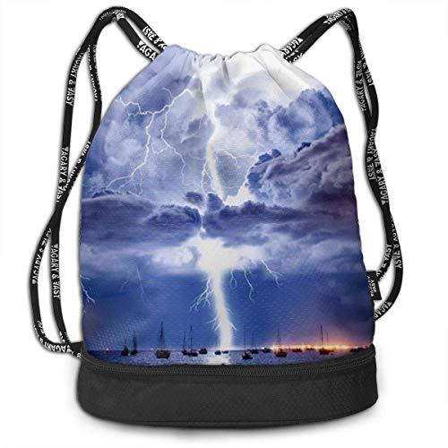Bolsas de Gimnasia, Drawstring Backpack Storm and Ship Print Travel Sport Yoga Gym Sack Bag Outdoor Bundle Backpack Laptop Bag Beach Rucksack for Men/Women
