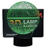 NHSUNRAY Lámpara 3D de estrella de la muerte con ilusión de luz nocturna de 7 colores, lámpara táctil artística, regalo de cumpleaños para niños, decoración de dormitorio