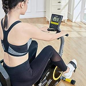 pooboo Recumbent Exercise Bike Indoor Cycling Bike Stationary Bike Magnetic Bike with Pulse, Monitor and Adjustable Seat(Yellow)