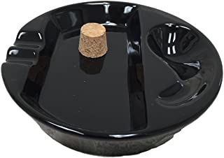 Sigara Black Ceramic Single Pipe Rest and Double Cigar Ashtray for Patio Use