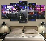 5 Panel/Set Lienzos Handart Cuadro En Lienzo Cinco Partes HD Clásico Óleo Impresiones Decorativas Cartel Arte Pared Pinturas Hogar Lienzo Coche Deporte Lujo Clásico Vintage F1 Racing