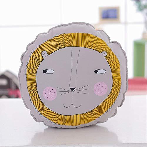 Gecfun Almohada para habitación de niños león bebé Cara de león muñeca Redonda cojín de algodón Animal futón 40 cm 0.35 kg León