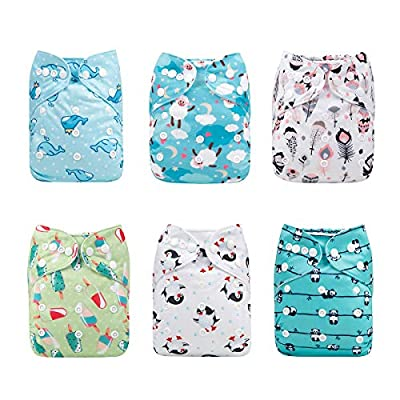 ALVABABY Reuseable Washable Pocket Cloth Diaper 6 Nappies + 12 Inserts 6DM33