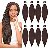 YOLANFAIRY 20' Pre stretched braiding hair Synthetic Yaki Texture Hair Extension Hot Water Setting Crochet Hair 8Pcs Braids(Brown)