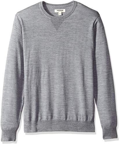 Amazon Brand - Goodthreads Men's Lightweight Merino Wool Crewneck Sweater, Heather Grey, Large