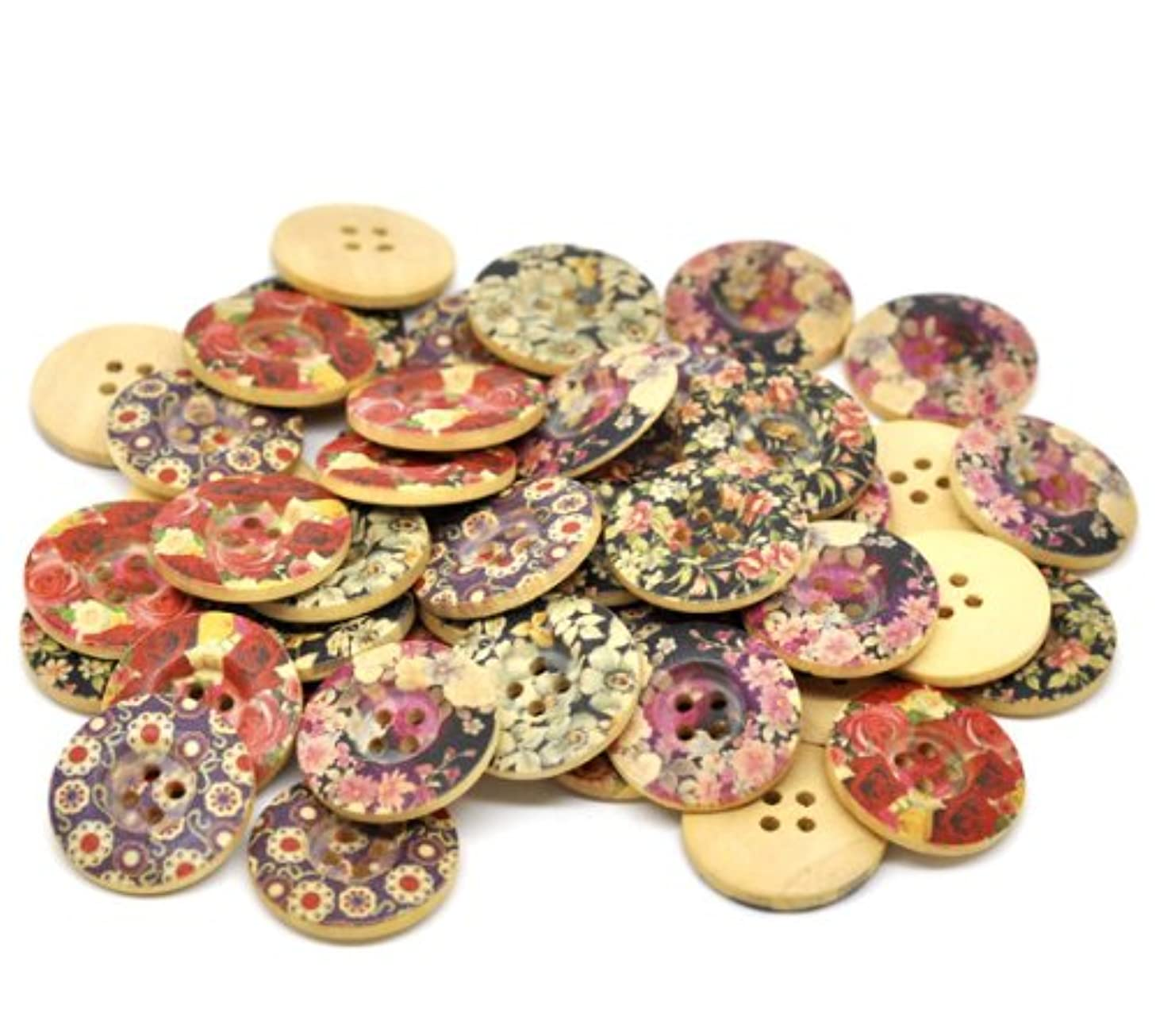 PEPPERLONELY Brand 50PC Flower 4 Hole Round Wood Buttons Scrapbooking Sewing Buttons 25mm (1 Inch)