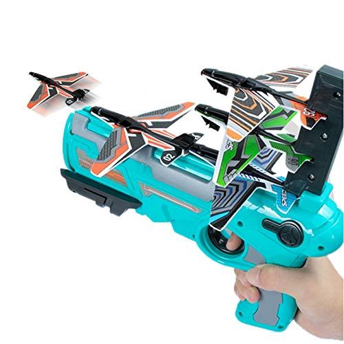 Avión de catapulta de burbujas, modelo de eyección de un solo clic espuma de espuma, juego de juguete de juego con 4 pcs Glider Airplane Launcher, 2021 nuevo jardín caliente deporte al aire libre fies