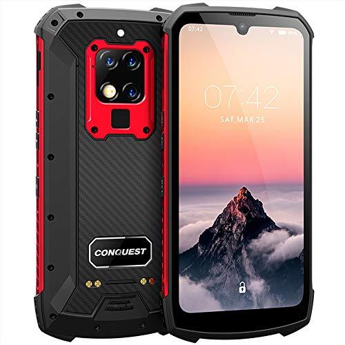 CONQUEST Celulares robustos desbloqueados, S16 48MP AI Cámaras triples Global 4G IP68 9V / 2A 6000mAh Batería Dual SIM Teléfono Robusto (Rojo, 256GB)