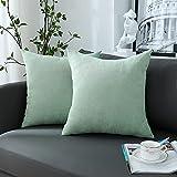 chirest copricuscini 40x40cm verde chiaro set di 2 morbido rettangolare copricuscino fodere per cuscino decorativa rustica solida per la decorazione domestica soggiorno camera da letto divano