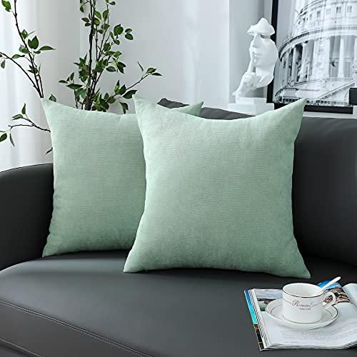 Chirest Juego de 2 fundas de cojín de 55 x 55 cm, color verde claro y suave, rectangulares, fundas para cojín decorativas rústicas, sólidas para la decoración doméstica, salón, dormitorio o sofá