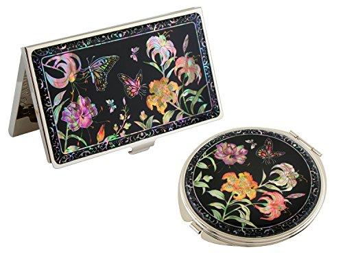 Porte-cartes de visite en forme de trompette en nacre avec motif fleur de lys - Miroir compact en acier inoxydable gravé