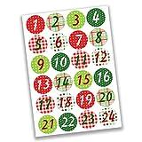 Papierdrachen 24 Pegatinas de números para Calendario de Adviento Clásico con Estampado No 5 - para Crear y Decorar