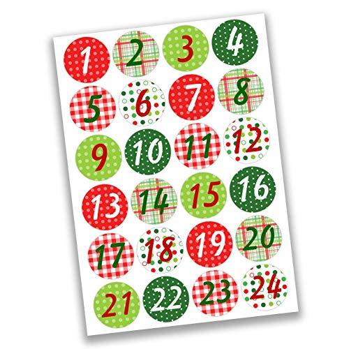 Papierdrachen 24 Adesivi con Numeri per Il Calendario dell'Avvento Classico - con Motivi n. 5 - Adesivi - per Creare e Decorare
