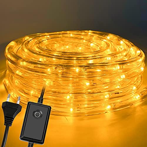 Hoplugge Lichterschlauch Aussen 30M 720 LEDs LED Schlauch Innen Außen Warmweiß Lichtschlauch mit Timer und 8 Modi, für Zimmer Garten Party...
