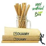 DUAMY Pajitas de bambú Reutilizables. El Pack Tiene 12 pajitas de bambú ecológicas, un Cepillo de Limpieza y Dos Bolsas de Tela de Yute Natural. Pajitas biodegradables de 20 cm Totalmente orgánicas.