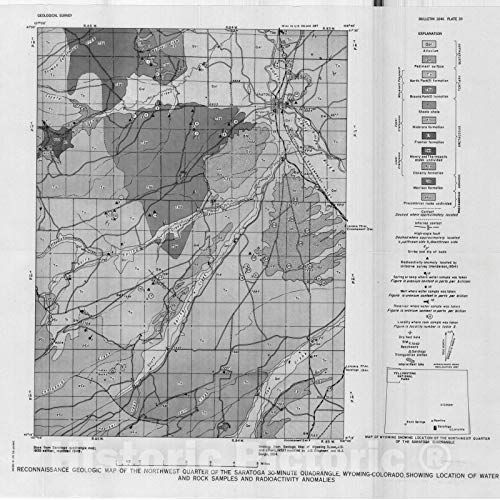 Historic Pictoric Map : Reconnaissance Investigation of Uranium occurrences in The Saratoga Area, Carbon County, Wyoming, 1959 Cartography Wall Art : 24in x 24in