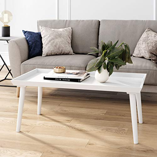 Nathan James Hazel Mid-Century Wood Tray Top Coffee Table with Narrow Cone Legs and Modern Veneer Finish, White