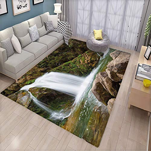 Waterfall Decor Joker Floor mat Mother and Baby Waterfalls by The Mountain Side with Moss on Rocks Indoor Doormat 6'x9.2' Green and Brown