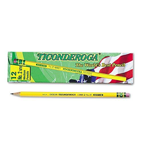 Ticonderoga Cedar Yellow Wood Pencils, 2-1/2/F Medium Lead, Dozen DIX13885