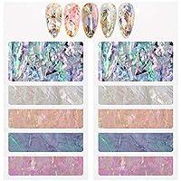 DSHIJIE 偏光色 ホログラム シェル ネイルシール ネイルフレーク ネイルパーツ 貝殻フィルム ネイルスパンコール ジェルネイル ネイルデコレーション(5色/セット)