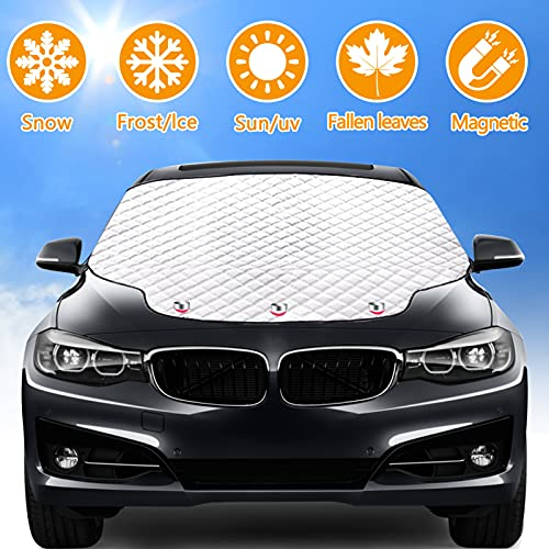 Rajvia Copertura Parabrezza Auto, Protezione Parabrezza Anteriore 3 Magneti Parasole Telo Parabrezza Auto Anti-UV Contro Neve Ghiaccio Gelo Polvere Universale per SUV (183 * 116CM)