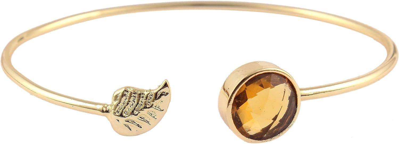 Citrine Hydro Quartz Bangle Bracelet Fashionable Round Checker Cut Bracelet With Leaf Style Gold Plated Bangle Bracelet For Gift (10mm) By GUNTAAS GEMS.