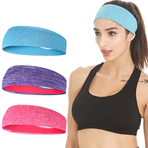 EasYoung Headbands for Women, Women's Yoga Headbands, 3-Pack Sweat Wicking Headbands, Sports Cooling Hair Band for Running Fitness, Elastic Non Slip