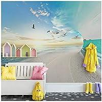 Wkxzz 壁の背景装飾画 カスタム写真壁紙ビーチ海空自然風景壁画リビングルームの寝室の背景壁画-120X100Cm