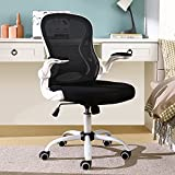 BERLMAN Ergonomic Mid Back Mesh Office Chair Desk Chair with Flip-up Arms and Adjustable Height (White)