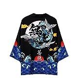 Tomwell Uomo Kimono Giapponese Cardigan Yukata Haori Robes da Uomo Pigiama di Abbigliamento al Vapore Stampato Maglietta Casual Primavera Estate Camicia H M