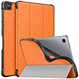 MoKo Funda Compatible con Samsung Galaxy Tab A7 10.4 Inch 2020 (SM-T500/505/507), Cubierta de PU y Carcasa Trasera de TPU a Prueba de Golpes, Triple Soorte Funda con Auto Activación/Reposo, Naranja