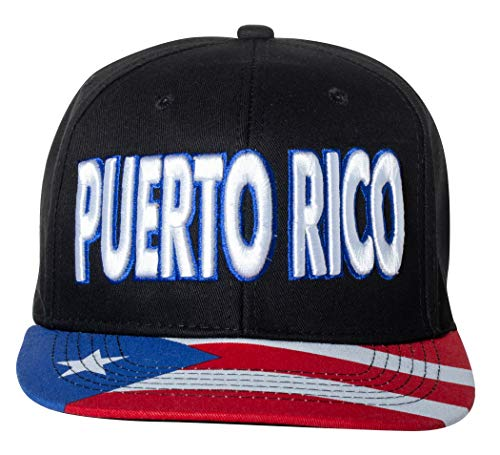 Embroidered Puerto Rico Snapback Baseball Cap with Flag on Bill - One Size Fits All (Black)